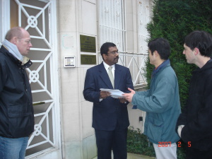 First Political Secretary, Mr Rama, receiving the letter from protesters