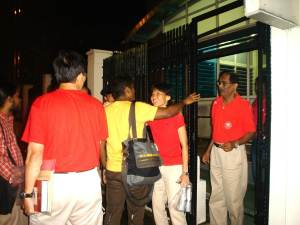 Friends greeting the SDP leaders when they were released last night outside Tanglin Police station