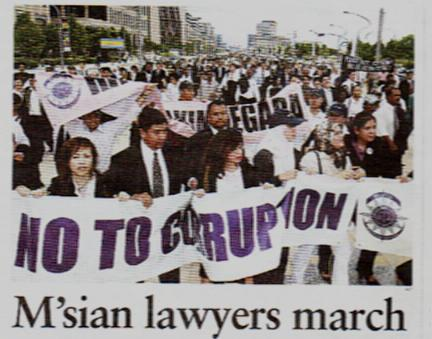 Malaysian lawyers staging a protest to call for reform of the judicial system